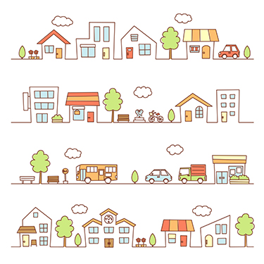 Graphic of trees, vehicles, stores and houses on a street
