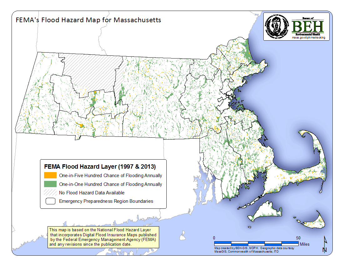 Map showing statewide flood zones