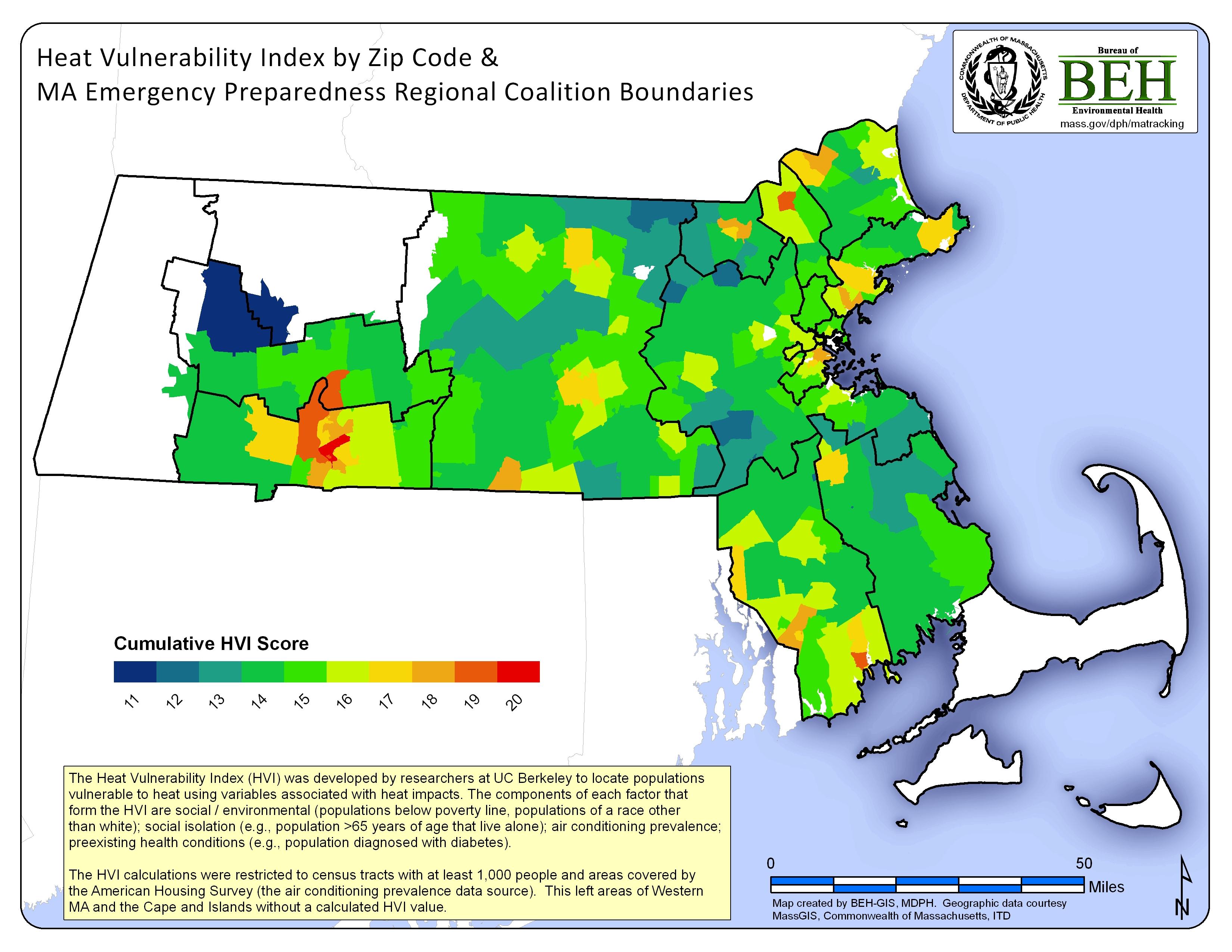 Heat Vulnerablity Index Map For Massachusetts - Us zip code massachusetts